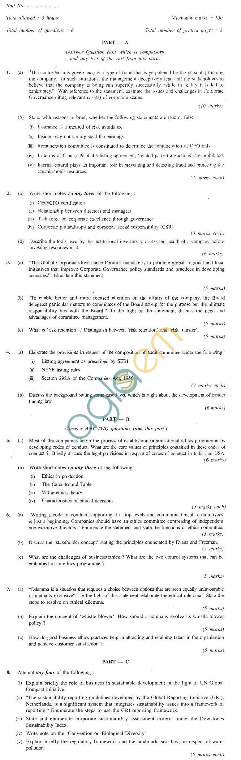 CS Professional Question PapersJun 2011 - Company Secretarial Practice Module I