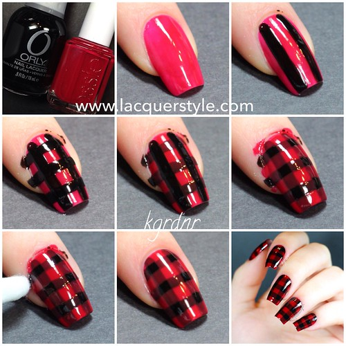 Red & Black Plaid Nails Tutorial