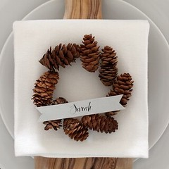 Mini Pinecone Wreath Placeholders for Oh So Beautiful Paper