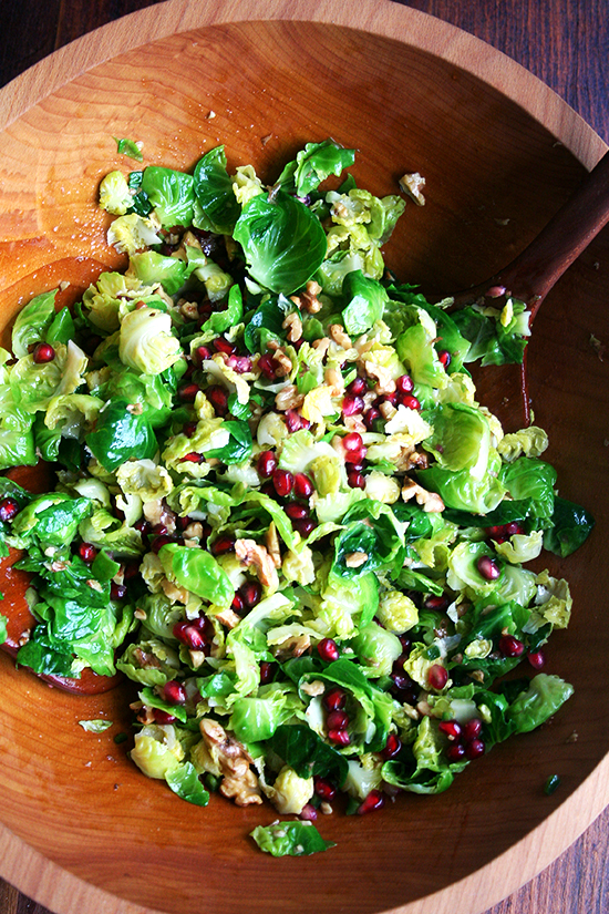 Brussels sprouts, walnut & pomegranate salad
