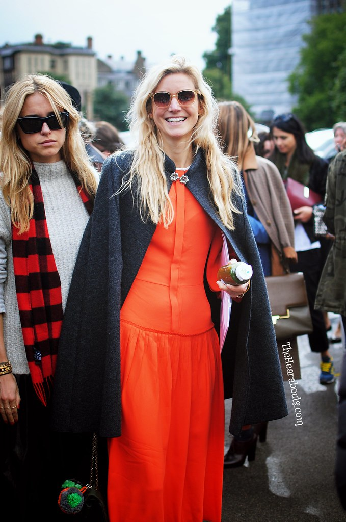 Bright Orange after the Burberry Show at LFW 2014