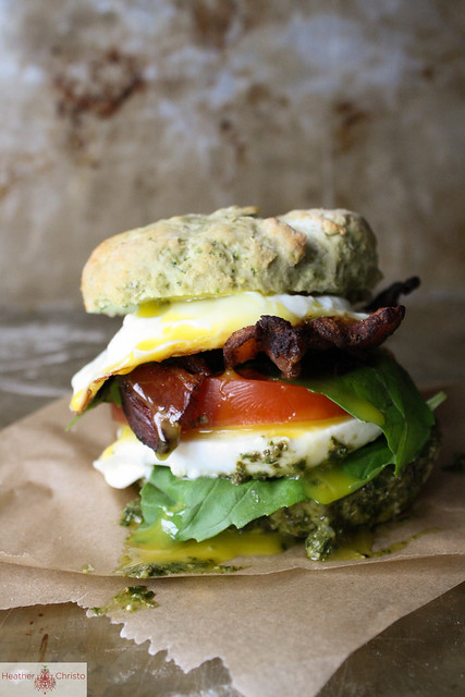 Caprese, Bacon and Egg Breakfast Sandwich