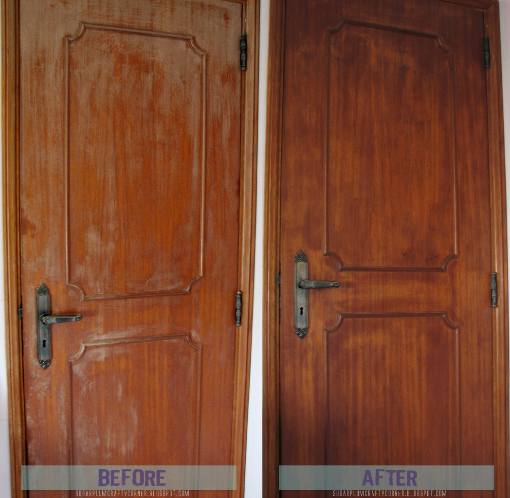 Before & After Applying Walnut Oil to the Craft Room Door
