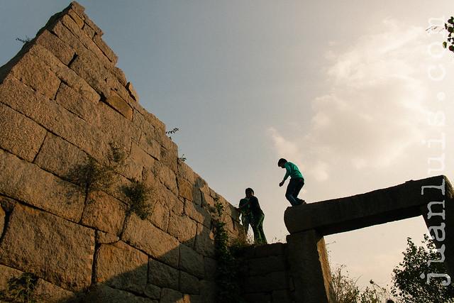 Scrambling over Golkonda Fort