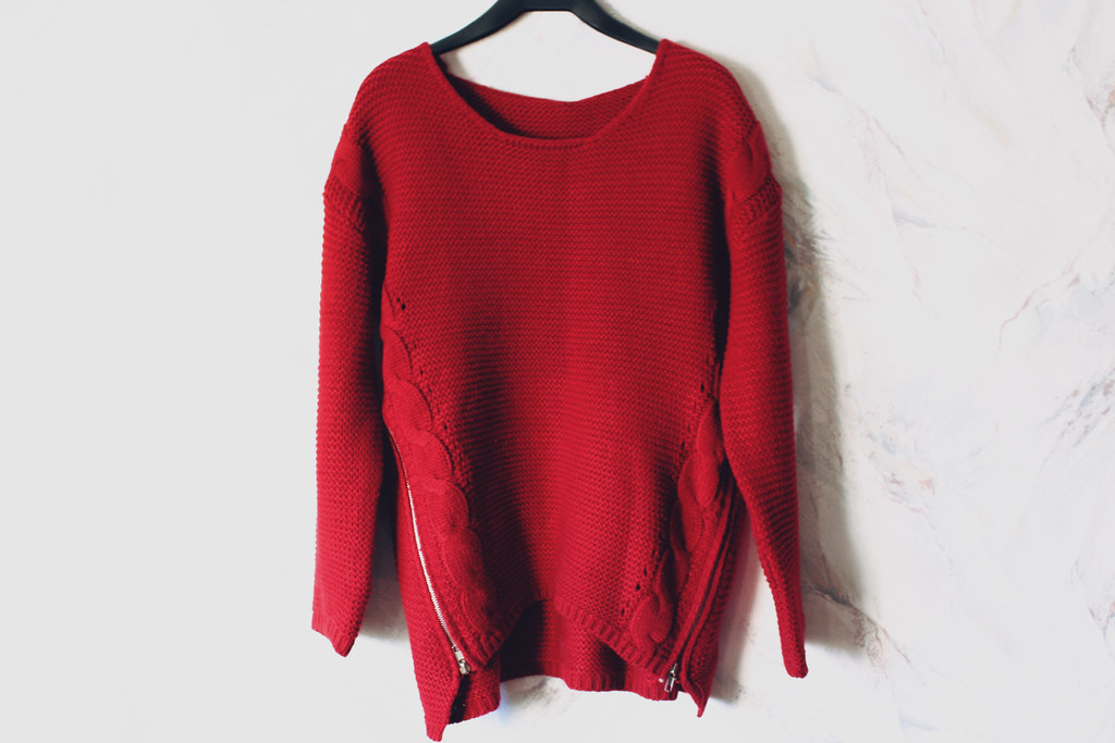 red cable knit sweater with zipper detailing from jollychic