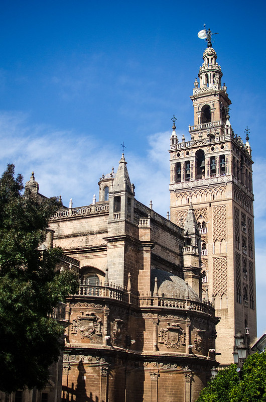 La Giralda towers over Barrio Santa Cruz in Seville, Spain.