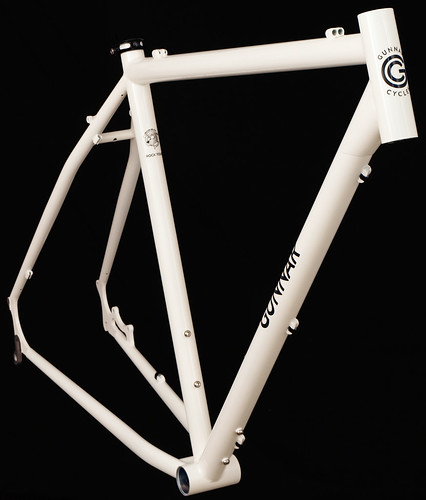 <p>Front view of Gunnar Rock Tour in White with Black Bullseye Decals.  Heed the call of Adventure with a terrific bike for the outback.  Easy fit, chainstay disc mounts, rack and fender eyelets let you answer the call of the wild.</p>