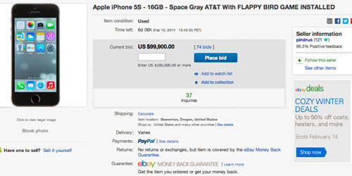 iPhone 5 with pre-installed Flappy Bird app for over $99,000 on eBay