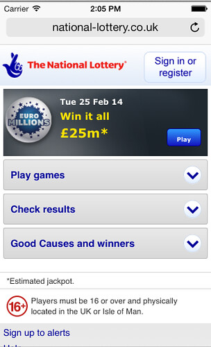 National Lottery mobile site