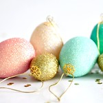 Glittered hanging eggs