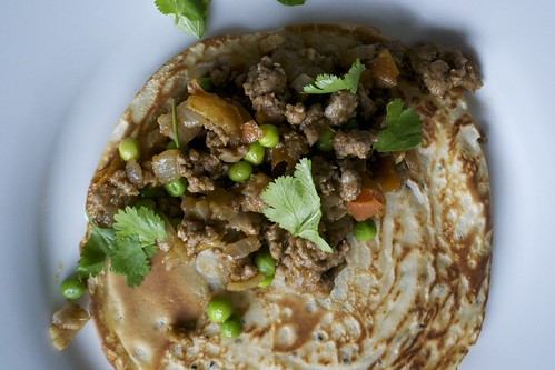 pancake with lamb mince curry