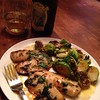 Cilantro lime fish with roasted Brussels sprouts & Anne Amie Pino blanc...