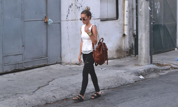 trend report barbara crespo slide sandals celebrities looks fashion blogger outfits blog de moda