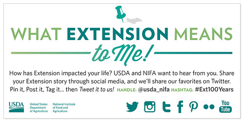 If you are a 4-H'er, a farmer or backyard gardener who works with your local Extension agent, or a part of a Land Grant University – tell us how Extension has helped, improved or even changed your life using #Ext100Years!