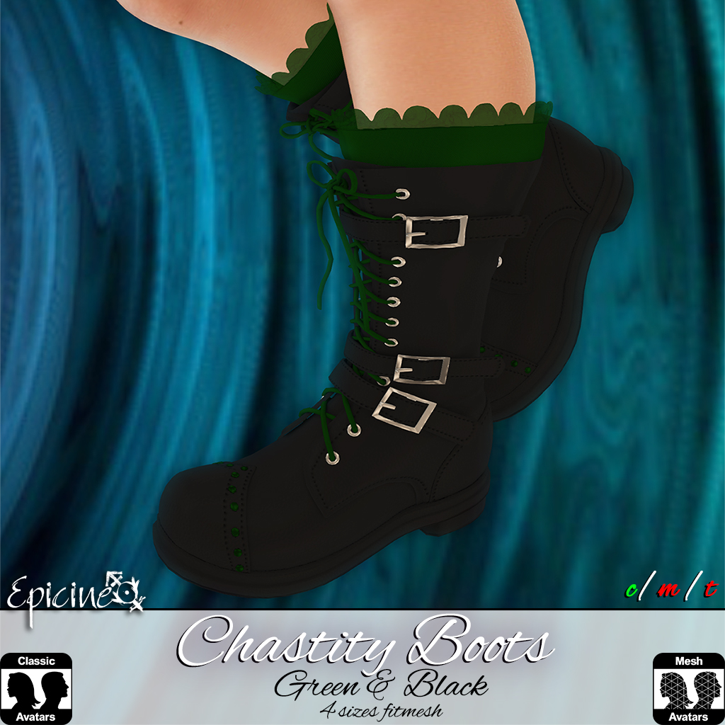 Epicine - Chastity Boots - Green + Black - SecondLifeHub.com