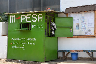 M-PESA kiosk outside Kibera centre in Nairobi