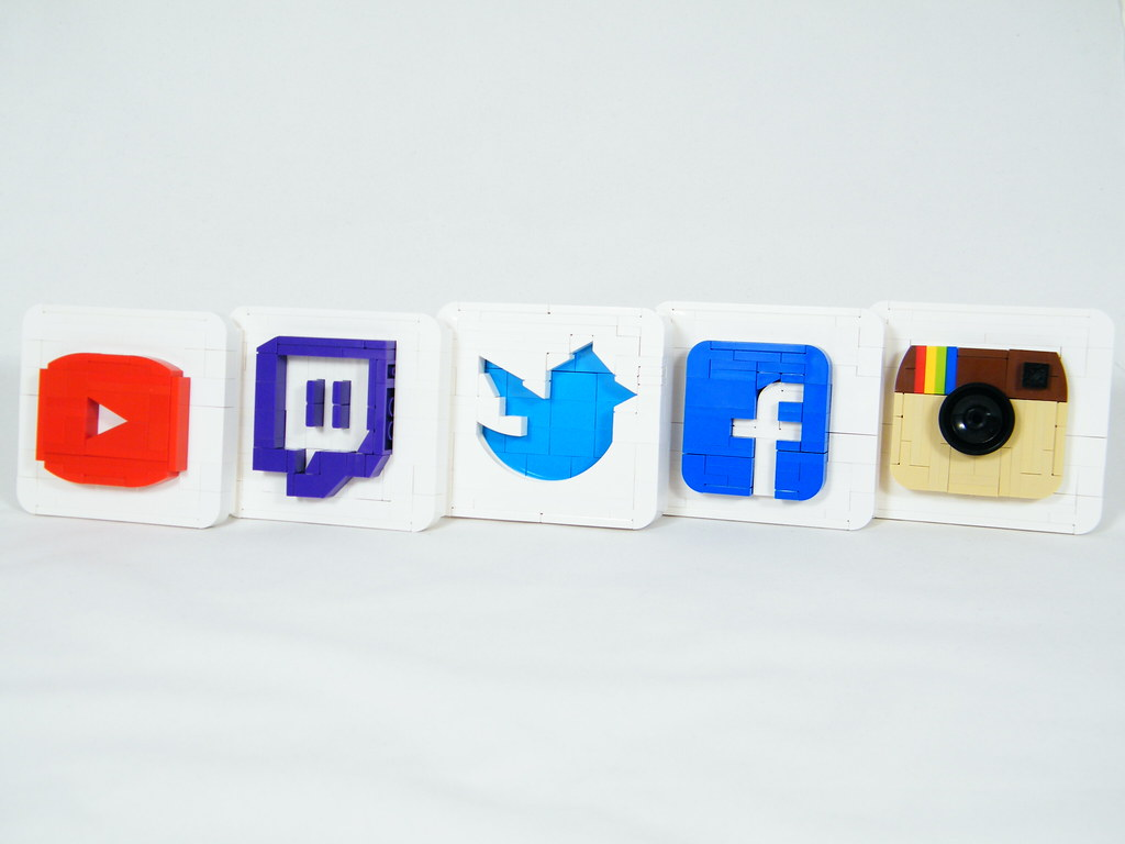 Social Media Logos (custom built Lego model)