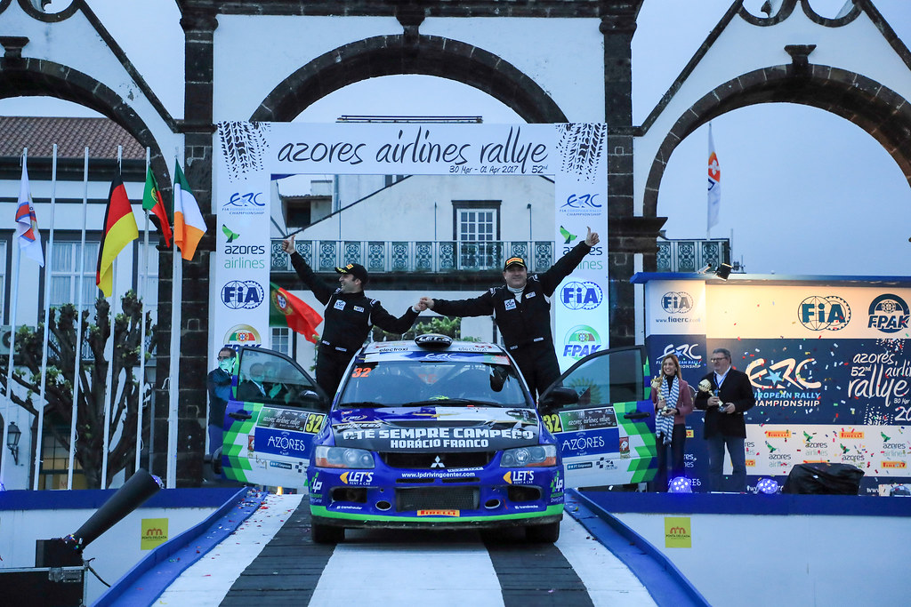 32 PIMENTEL Luis PIMENTEL Bruno Mitsubishi lancer EVO X Ambiance Portrait during the 2017 European Rally Championship ERC Azores rally,  from March 30  to April 1, at Ponta Delgada Portugal - Photo Jorge Cunha / DPPI