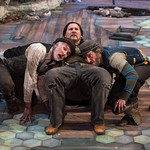 Waiting for Godot - Arvada Center 2017 - Pictured L-R: Sam Gregory (Vladimir), Sam Gilstrap (Pozzo), and Timothy McCracken (Estragon).  Photo Credit: M. Gale Photography 2017