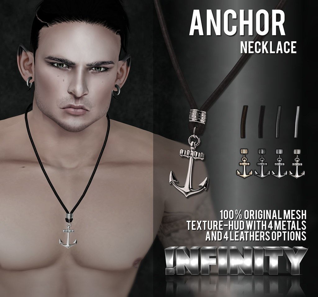 !NFINITY Anchor Necklace @ Men Only Monthly - SecondLifeHub.com