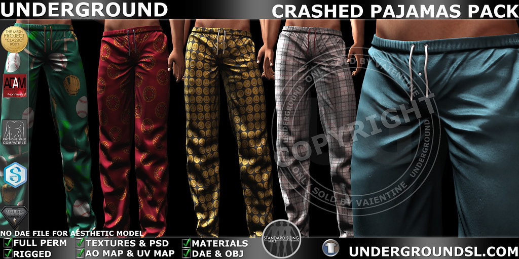 UG MESH CRASHED PAJAMAS PACK MP - SecondLifeHub.com