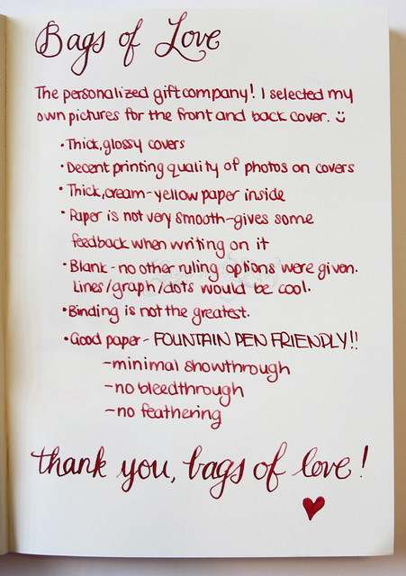 Bags of Love A5 Notebook Writing Sample