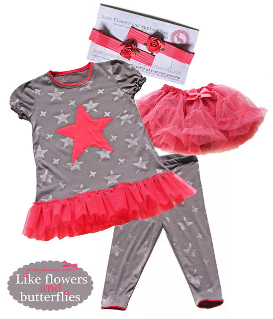 small colection : grey stars and neonish coral accents comfy girl star set