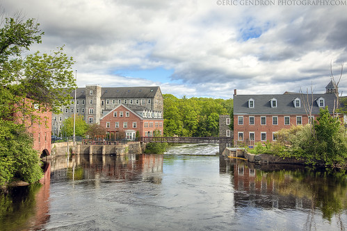 new england sky cloud color reflection building tree brick art mill water rural photoshop canon river landscape town spring scenery downtown factory angle mark wide scenic newengland newhampshire wideangle nh scene hampshire cotton ii 5d mills newmarket hdr lamprey millyard photomatix 5dmarkii ericgendron