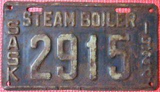 SASKATCHEWAN 1924 ---STEAM BOILER LICENSE PLATE