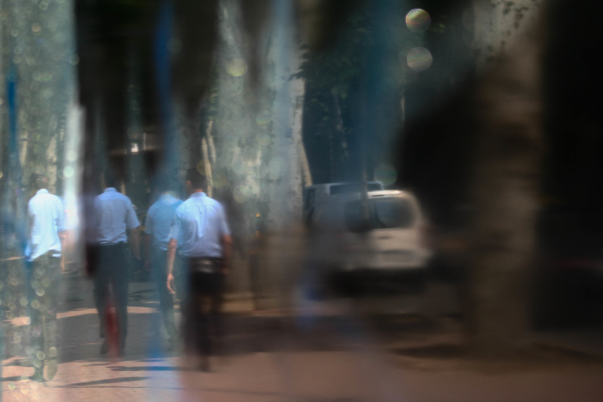 Police patrolling Dolmabahçe Caddesi.
