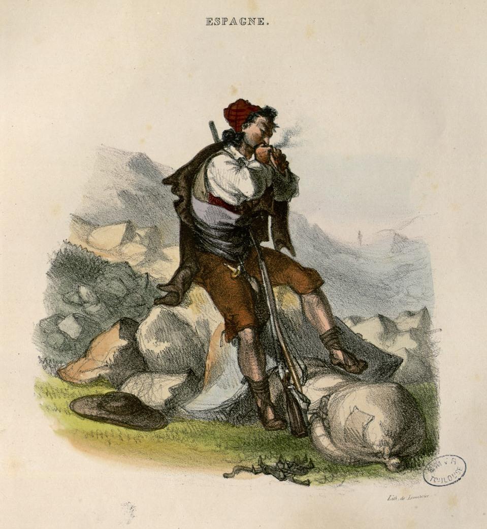 Contrabandista en un puerto pirenaico. Paul Gavarni. Cromolitografía. 1829