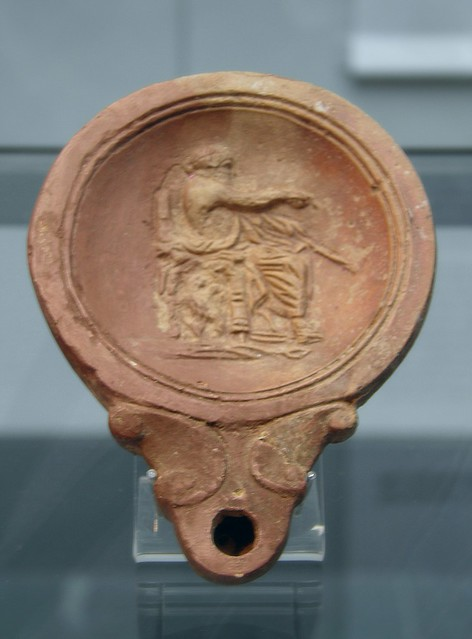 Terracota oil lamp with depiction of Jupiter, 2nd century AD, Staatliche Antikensammlungen, Munich