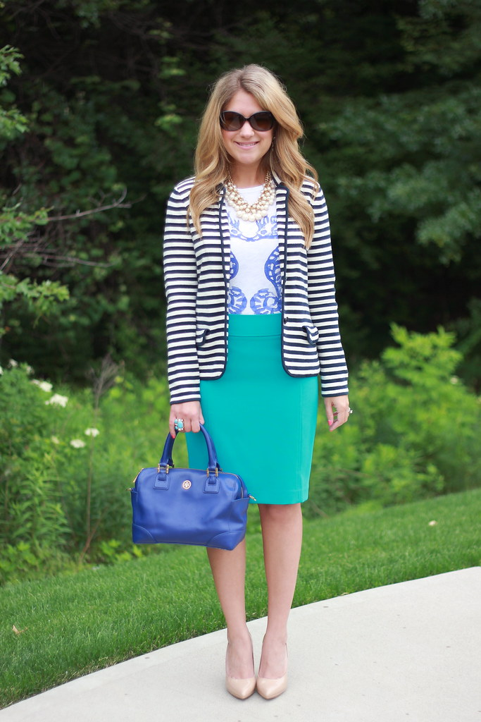 Striped Blazer Summer Work Look with J Crew Seahorse Tee