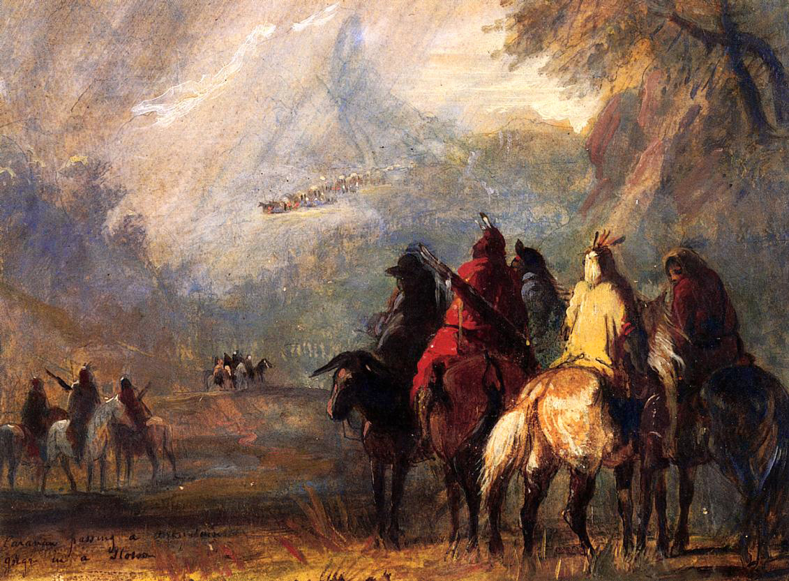 Caravana atravesando un paso de montaña en plena tormenta. Obra de Alfred Jacob Miller (1810-1874)
