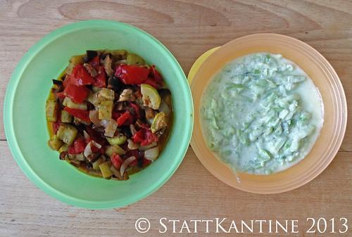 Stattkantine 26. Juli 2013 - Backofengemüse, Gurken-Joghurt-Salat