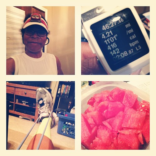 Ran 4 miles this morning. These are the best miles I've run outside in the humidity since the beginning of July! I'm happy girl. A good run and a good stretch earned me some extra watermelon this morning! #sweatpink #running #myafter #marathontraining #tr