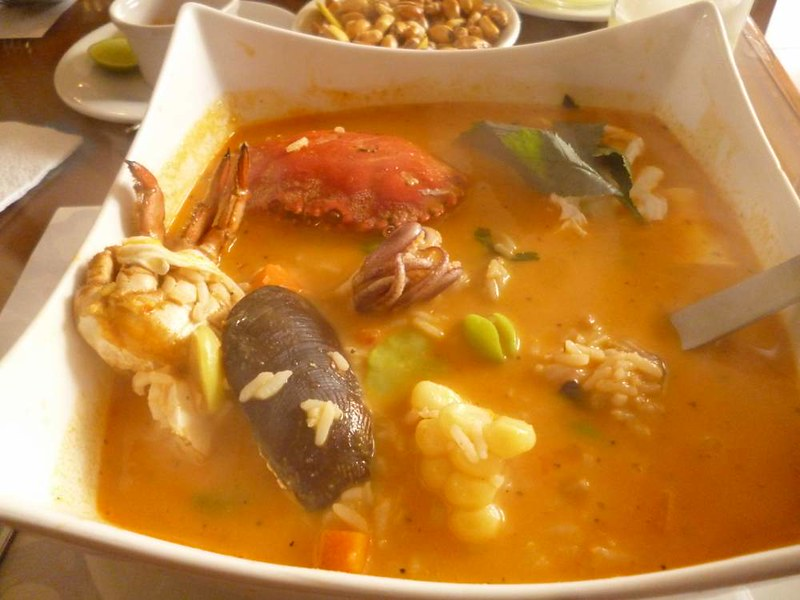 Seafood soup in Lima