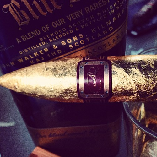You Only Live Once...Daniel Marshall Golden Torpedo and some Johnny Walker Blue with @humidormuse