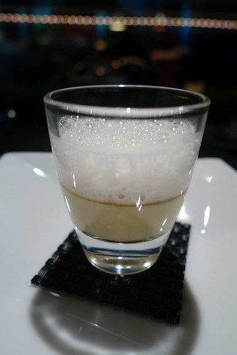 Amuse Bouche at L'Atelier de Joel Robuchon: Emulsion of Parmesan on top of Foie Gras Custard