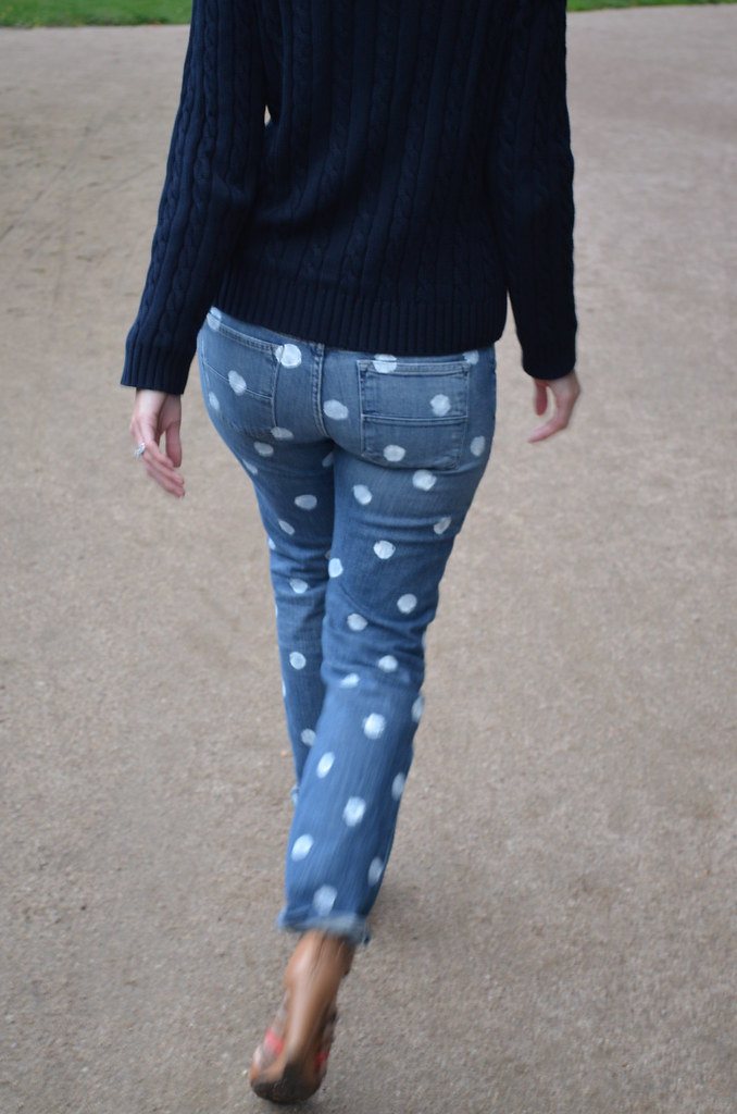 polka dot jeans walking away
