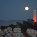 New Bay Bridge Eastern Span with Full Moon and Coit Tower - San Francisco