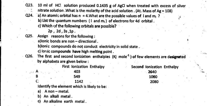 CBSE 2013 - 2014 Class 11 Half Yearly Question Papers – Chemistry