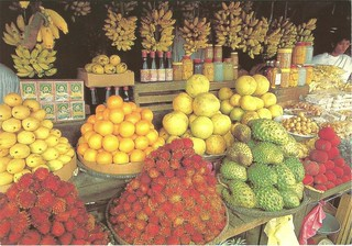 Colorful fruit stands along the roadside in Tagaytay, Batangas, Phillippines