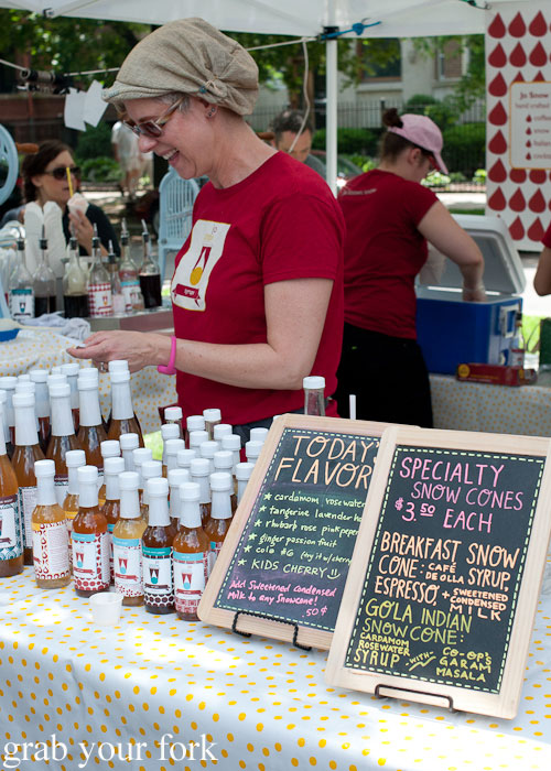 Snow cones syrup Jo Snow Syrups Logan Square Farmers Market greenmarket producers Chicago Illinois