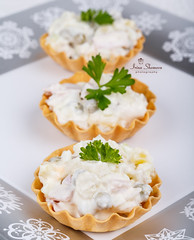Traditional New Year's salad olivier in tartl…