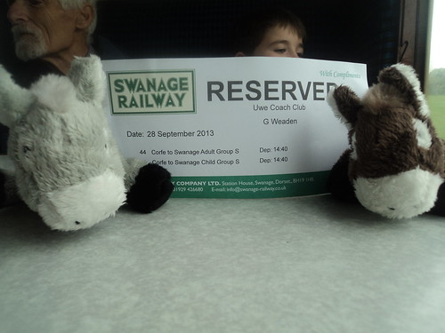 UWE Staff Social mascots Timothy and Busby on the Swanage steam train - Sept 2013