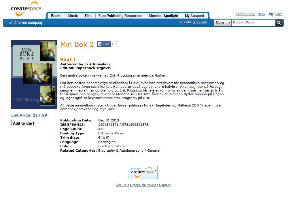 min bok 2 bind 1 klar til salg