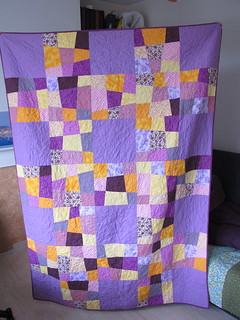 Finished Crazy Nine Patch Lattice Quilt