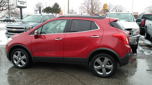 Picking up my ride for the next 10 days. Glad it's Santa red! #buick #encore #gm