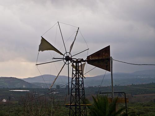sky travelling windmill clouds landscape reisen kreta himmel wolken griechenland landschaft dull windmühle trüb arkalohori olympuse5 schreibtnix